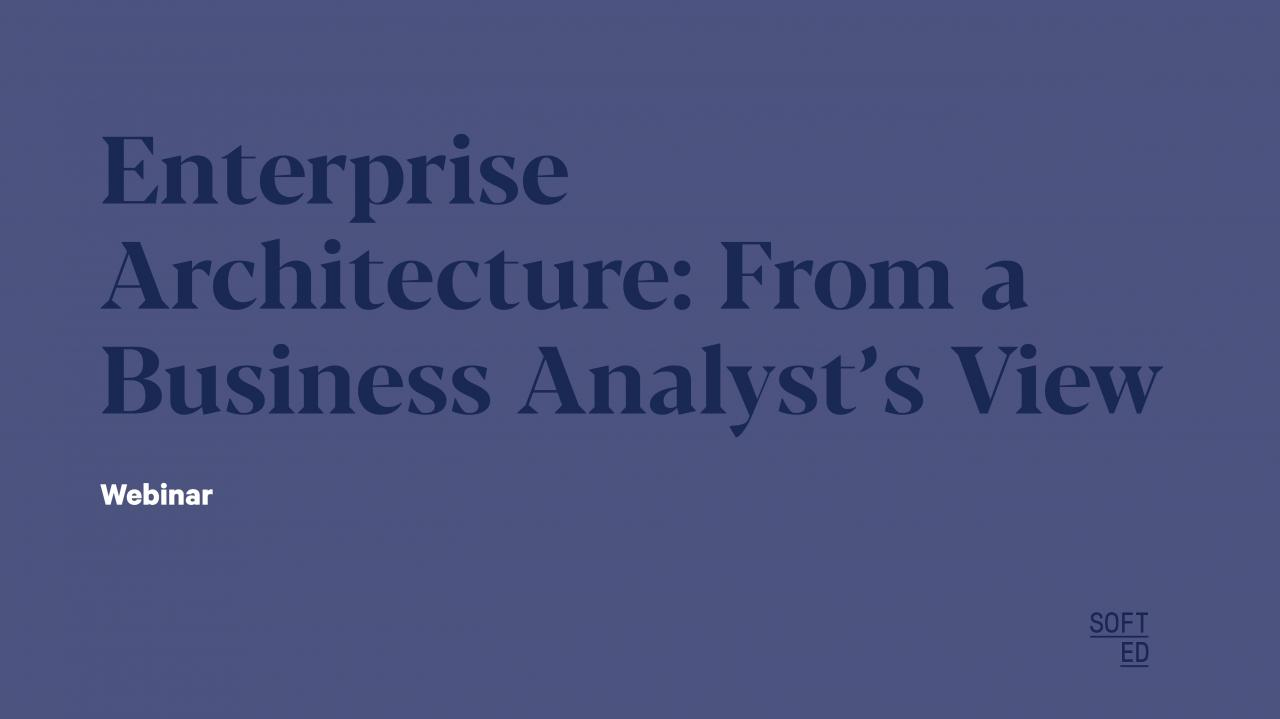 Enterprise Architecture: From a Business Analyst's View